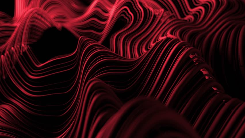 3d abstract background with wavy deformed thin and thick lines. Camera depth of field. Perfect for presentations. Organic flow lines. Loop animation.    Shutterstock HD Video #1017308413