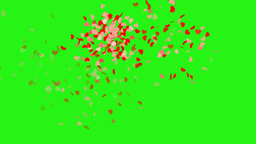 Heart shape confetti - seamless loop, green screen #1017341110