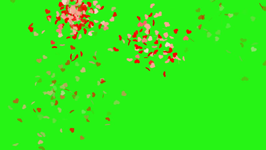 Heart shape confetti with camera flashes - seamless loop, green screen #1017341116