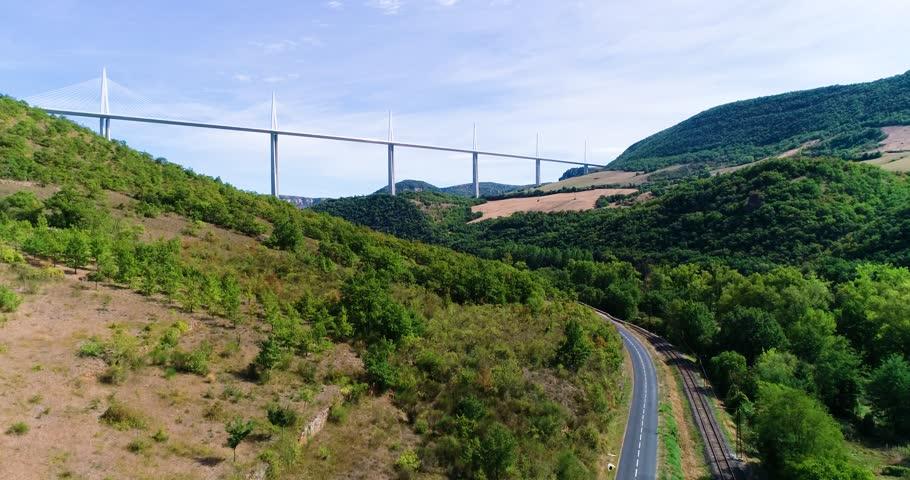 Bridge in aerial view in France, (Millau viaduct) | Shutterstock HD Video #1017349381