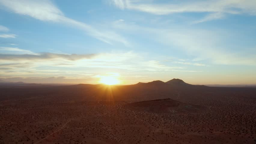 Flying high over the Mojave Desert at sunrise, Aerial Parallax Effect | Shutterstock HD Video #1017357976