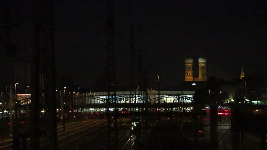 Munich train station at night