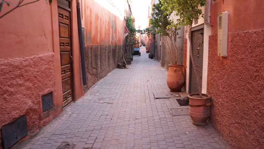 Moroccan orange narrow street alley in local neighbourhood with plants outside doors arabian traditional architecture