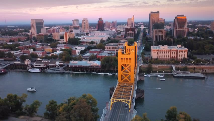 Aerial View of Tower Bridge and Downtown Sacramento including Old Sacramento and Capitol 4k UHD
