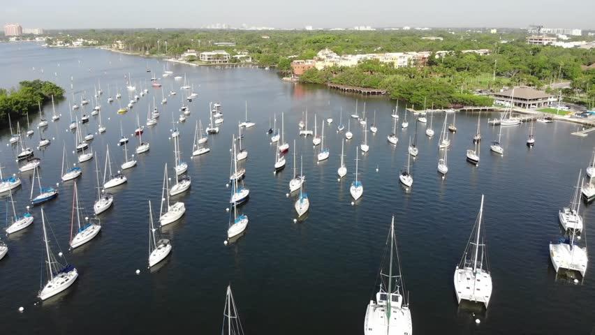 Sailboats docked off Coconut Grove, Florida.