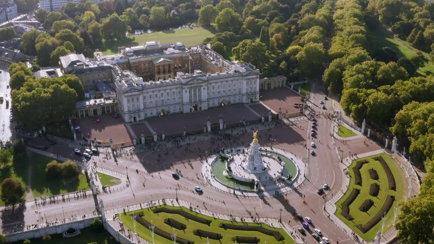 London, UK - October 2018: Aerial View of Royal Residence Buckingham Palace feat. Victoria Memorial. Famous Iconic Monarch Building of the United Kingdom located in the City of Westminster, England UK