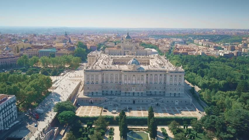 Aerial view of Palacio Real or Royal Palace in Madrid, Spain Royalty-Free Stock Footage #1017513397