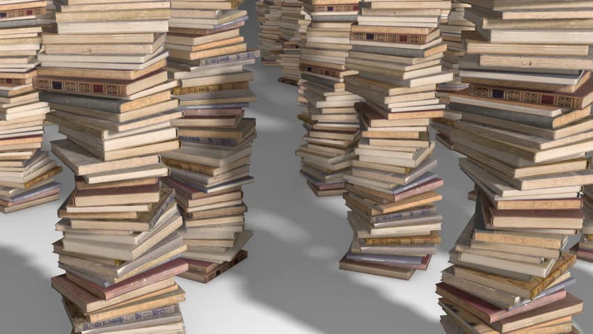 Free flight camera between stacks of old books, folded spiral.   Shutterstock HD Video #1017517666