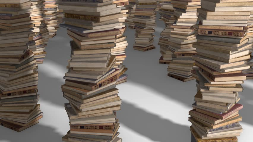 Free flight camera between stacks of old books, folded spiral.   Shutterstock HD Video #1017517669