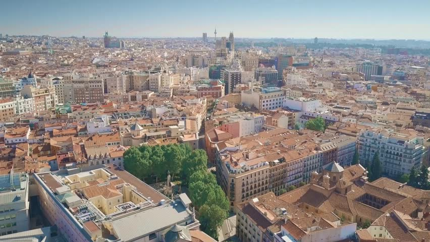Aerial view of Madrid cityscape, Spain Royalty-Free Stock Footage #1017519625