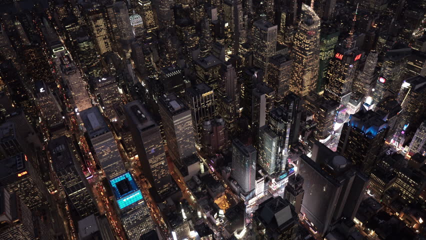 New York City Circa-2015, high angle aerial view over Midtown Manhattan and Times Square at night