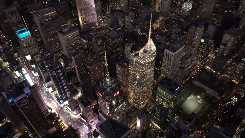 New York City Circa-2015, high angle aerial view at night over Midtown Manhattan, Times Square and Bryant Park | Shutterstock HD Video #1017520162