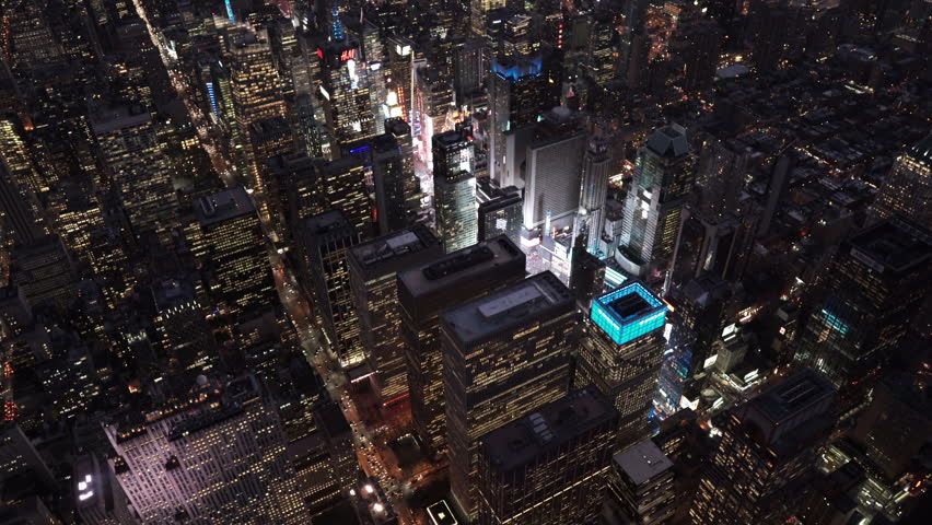 New York City Circa-2015, wide angle aerial view at night, over Midtown Manhattan and Times Square | Shutterstock HD Video #1017520165