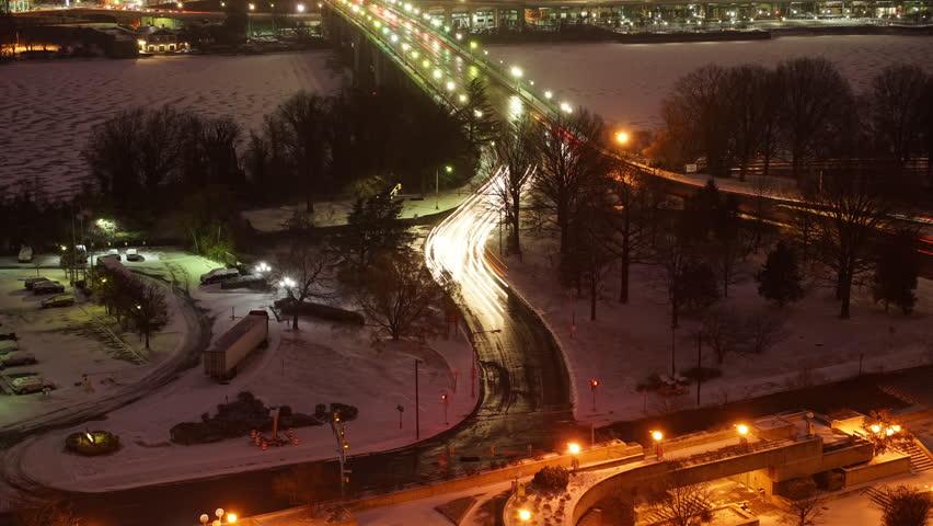 View on Key bridge at dawn: timelapse of night to day transition, Washington DC, USA