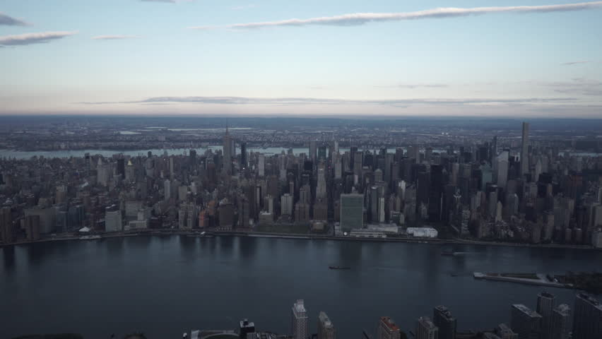 New York City Circa-2015, wide angle aerial view of Midtown Manhattan skyline from the East River