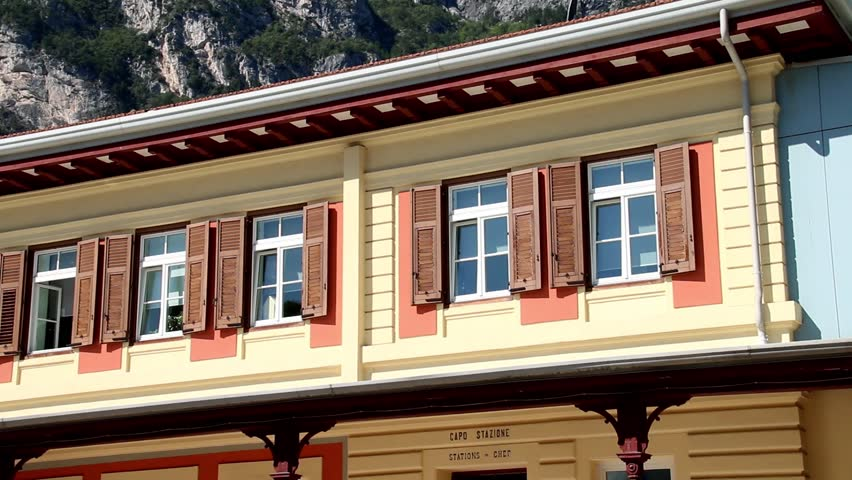 Close up of old train or railway station (Mori–Arco–Riva) of Riva del Garda, Italy. | Shutterstock HD Video #1017524443