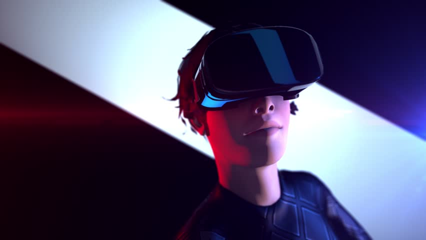A girl with short hair wears futuristic suit and VR 360 headset training for playing golf games in virtual reality, Concept future of humanity, 3D rendering animation. | Shutterstock HD Video #1017530800