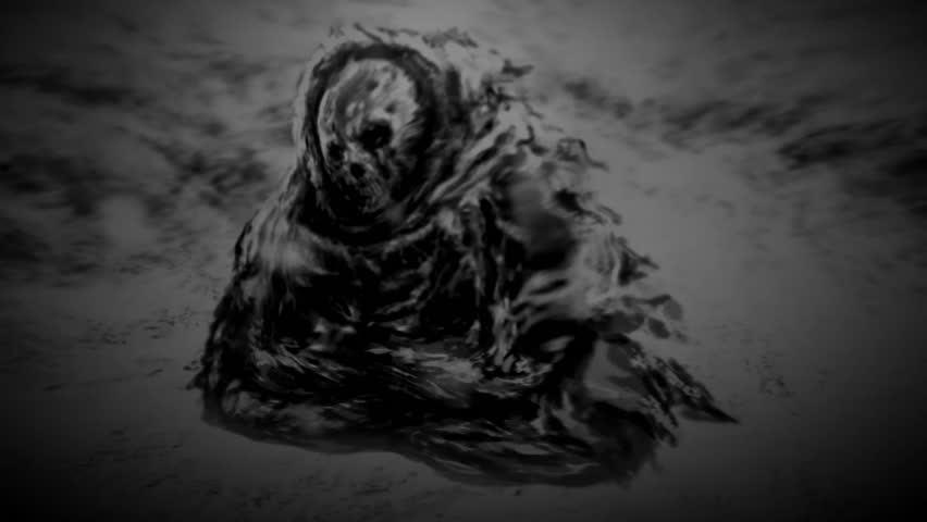 Dark monk mummy sits in ruins on snow. 2D animation in horror fantasy genre. Mystical place and ghost. Dead man in mountains. Spooky zombie apocalypse. Nuclear winter. Scary animated short HD film.