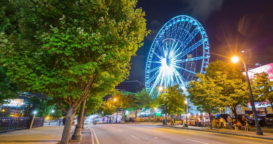 Downtown Atlanta Ferris Wheel at Night Timelapse. a night timelapse of the ferris wheel in downtown Atlanta and street