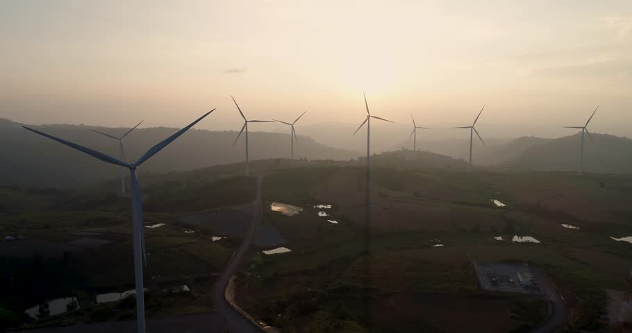 Aerial view 4K windmills during sunset time at thailand | Shutterstock HD Video #1017596464