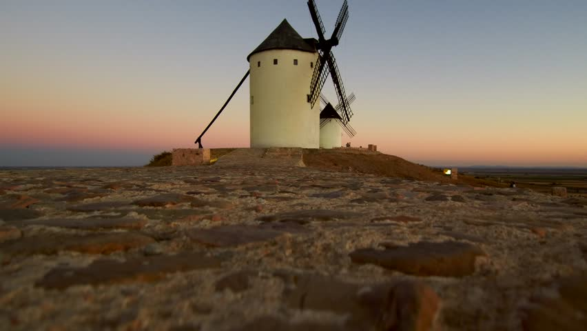 Aerial view of Windmills in Alcazar de San Juan, Ciudad Real, Spain. 4k Drone Video
