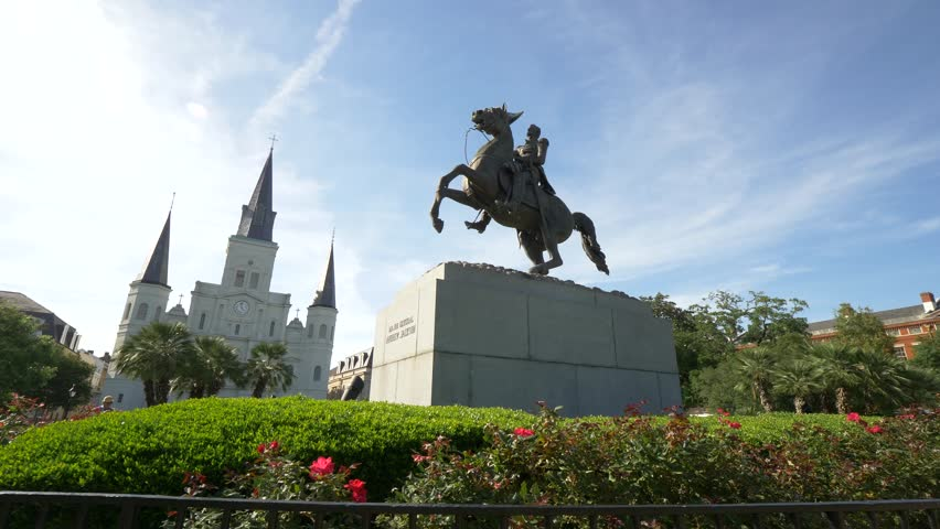 Andrew Jackson Statue in Jackson Square, New Orleans (Close) Royalty-Free Stock Footage #1017620125