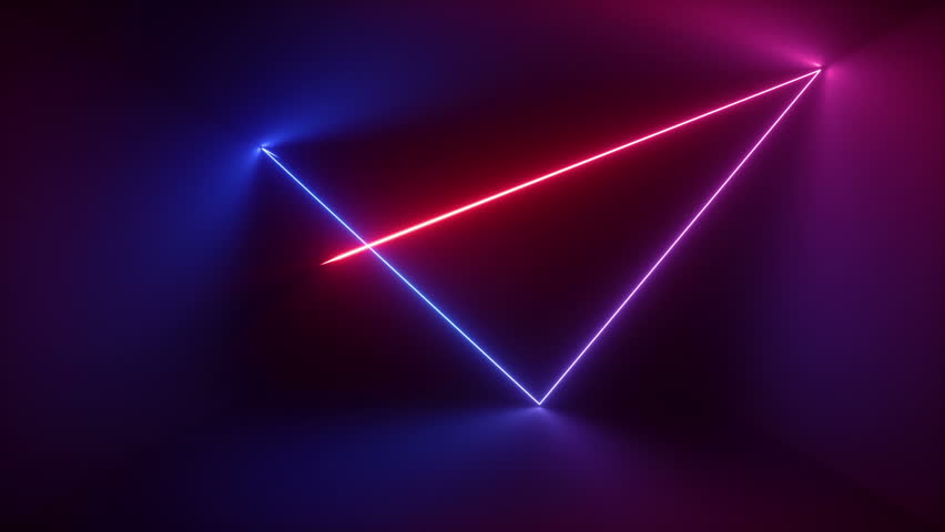 3d render, abstract background, neon rays inside dark box, tunnel, corridor, glowing lines, fluorescent ultraviolet light, blue red pink purple spectrum, looped, seamless animation | Shutterstock HD Video #1017626965