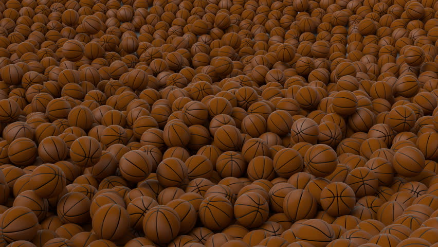 Animated great amount of basketballs falling onto white base or background bouncing and then tumbling or rolling toward the center.