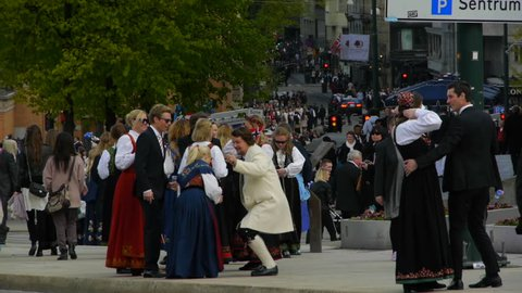 Oslo, Oslo / Norway - 05 05 2018: Norwegian Constitution Day is the national day of Norway. The most important part of the celebrations is the children's parade. Every city, town or village all over