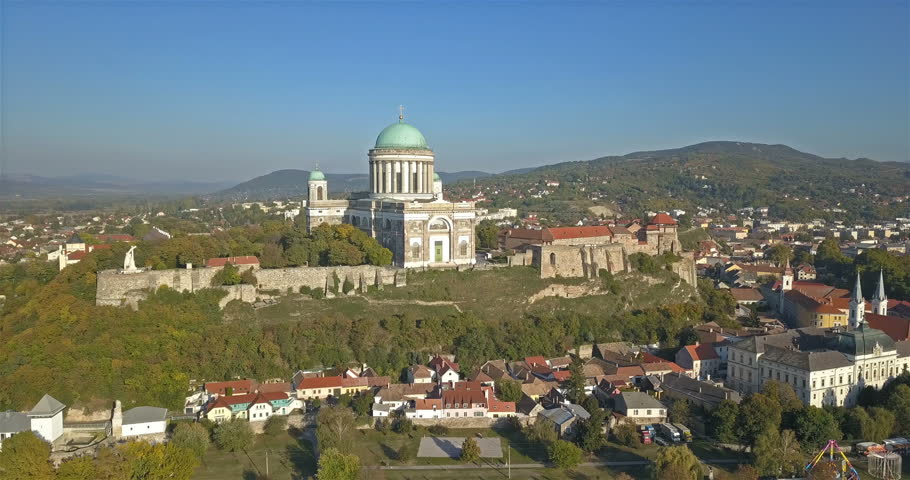 Aerial view of the Esztergom Basilica in Esztergom, Hungary Royalty-Free Stock Footage #1017707974