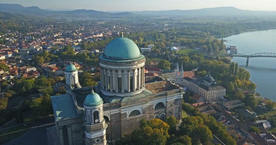 Aerial view of the Esztergom Basilica in Esztergom, Hungary Royalty-Free Stock Footage #1017707977