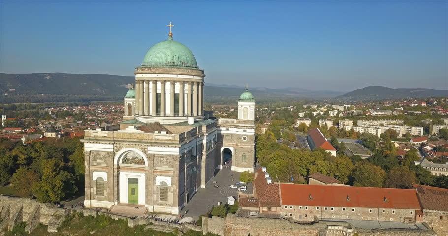 Aerial view of the Esztergom Basilica in Esztergom, Hungary Royalty-Free Stock Footage #1017707980