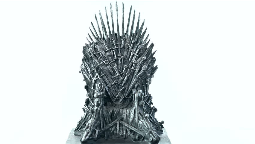 Games of Thrones HBO authorized replica of the Iron Throne on white background. Adelaide, South Australia - August 19, 2018.