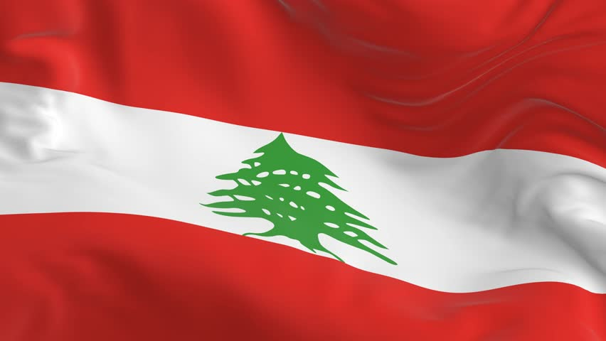 waving a looped flag as a background Lebanon #1017710827