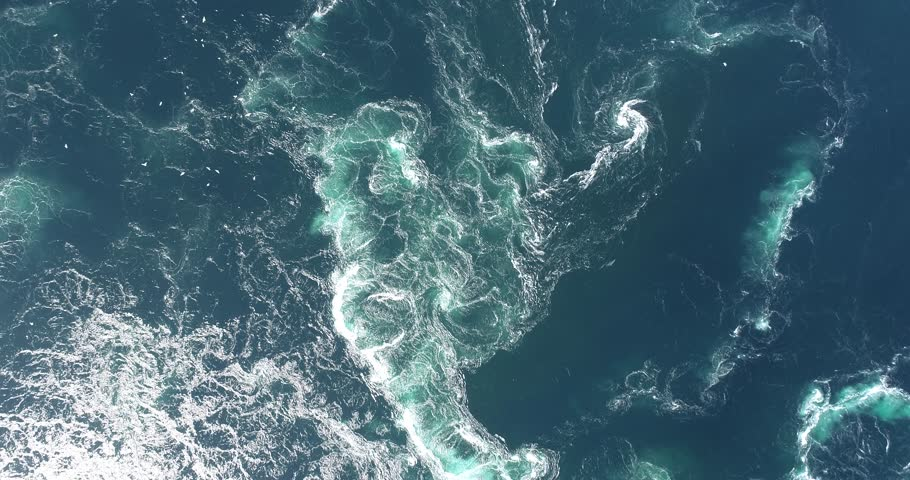 Footage of abstract water currents, rapids and whirlpools in fjord. Saltstraumen, Norway