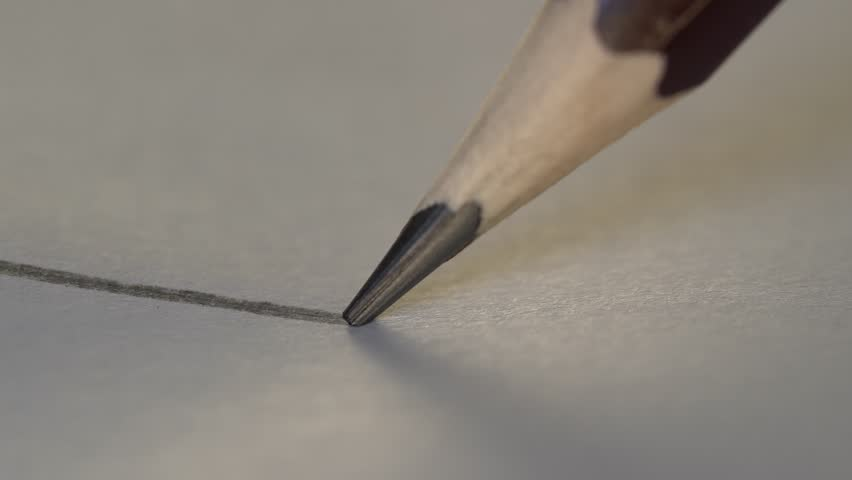 Artist hand drawing a flat gray line with a graphite wooden pencil on white paper. Close up, macro, 4k | Shutterstock HD Video #1017716974