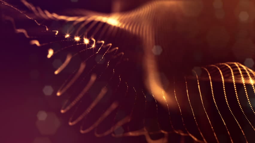 3d loop abstract particles animation with glow particles like Christmas or New Year garland or sparks that form wiggle structures. Seamless footage with depth of field, bokeh. Golden strings 4 | Shutterstock HD Video #1017721096