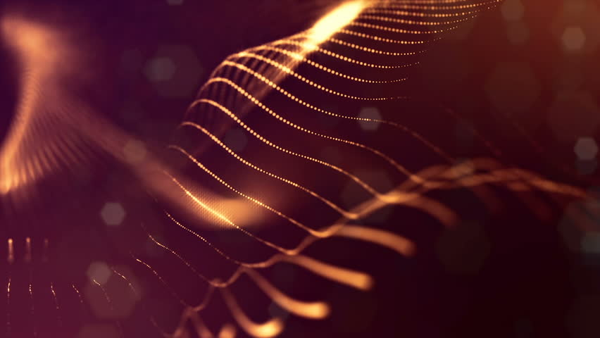 3d loop abstract particles animation with glow particles like Christmas or New Year garland or sparks that form wiggle structures. Seamless footage with depth of field, bokeh. Golden strings 5 | Shutterstock HD Video #1017721102