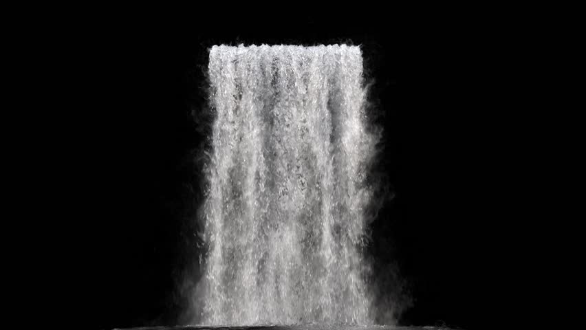 waterfall texture seamless loop, 4k, isolated on black with alpha and separate foam layer #1017734482