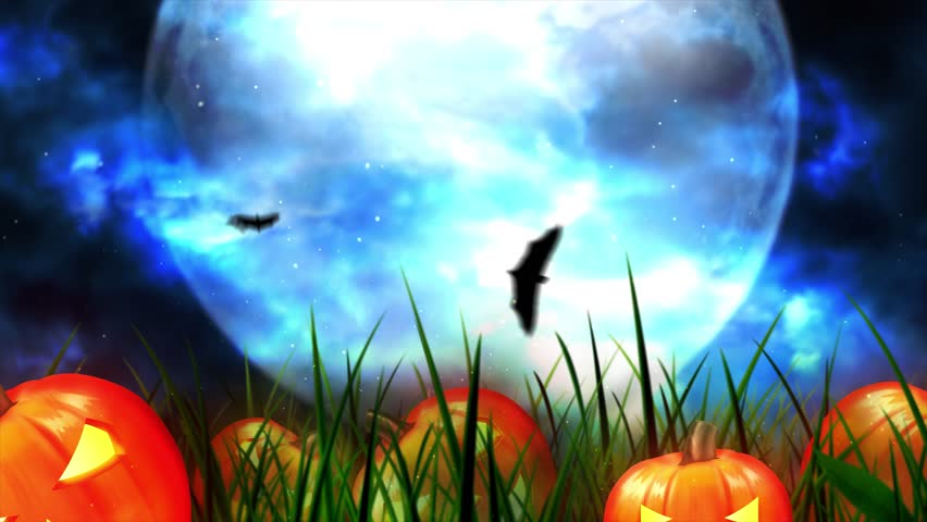 Halloween background animation with the concept of Spooky Pumpkins, Moon and Bats and Haunted Castle. | Shutterstock HD Video #1017761773