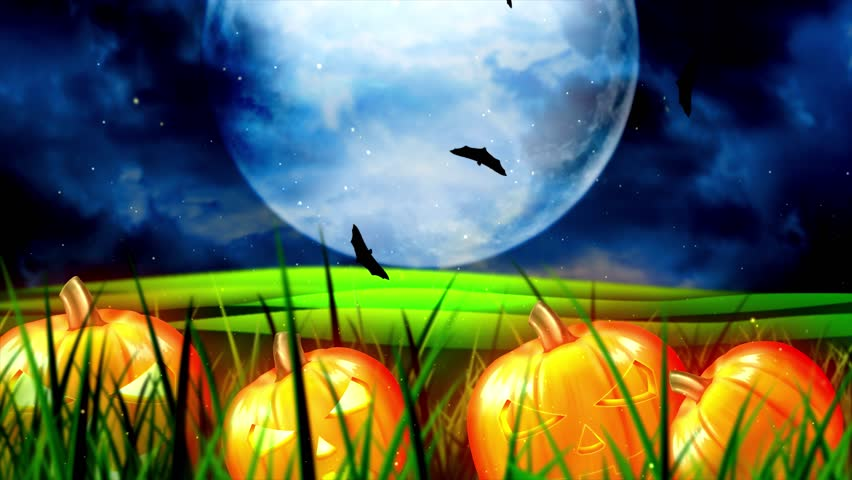 Halloween background animation with the concept of Spooky Pumpkins, Moon and Bats and Haunted Castle. | Shutterstock HD Video #1017761788