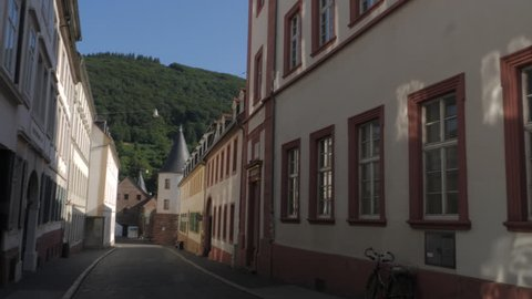 Heidelberg, Baden-Württemberg, Germany, July 8. 2018 tilt down to old tower
