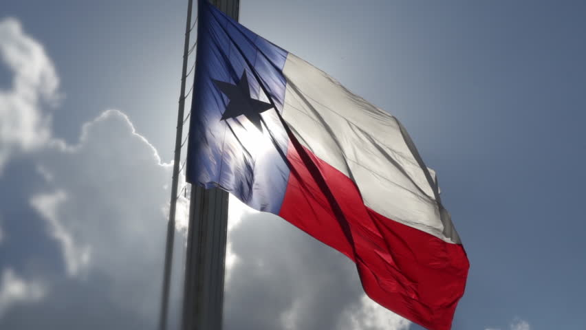 Texas Flag At Fair Park Dallas In Slow Motion