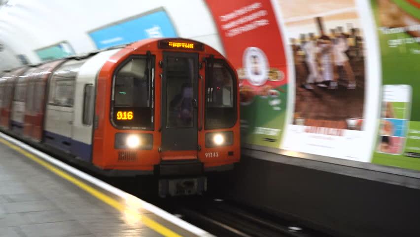 London Tube Train Arrives - London, UK - June, 2018