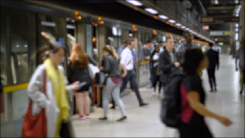 Commuter Crowd Of People in Underground Train Station - Commercially Usable Royalty-Free Stock Footage #1017796507