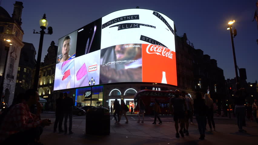 Real Time - Picadilly Circus At Night in London, UK - June, 2018