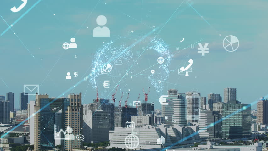 Smart city concept. IoT(Internet of Things).   Shutterstock HD Video #1017807019