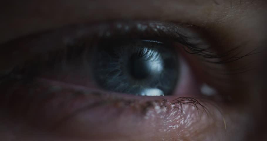 Blue eye with tears.