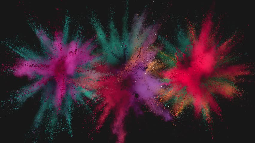 Ultra slowmotion shot of color powder explosions isolated on black background. Shot with high speed cinema camera at 1000fps   Shutterstock HD Video #1017852487
