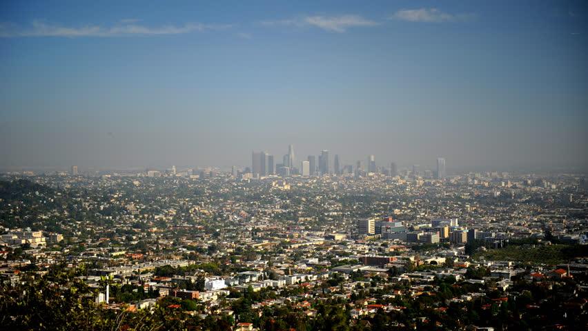 Establishing Shot Timelapse Aerial View Los Angeles City Skyline Suburban Area   Shutterstock HD Video #1017856783